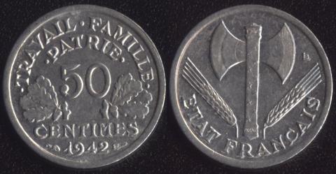 Франция 50 сантим 1942