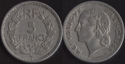 Франция 5 франков 1945 B