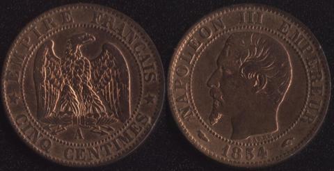 Франция 5 сантим 1854