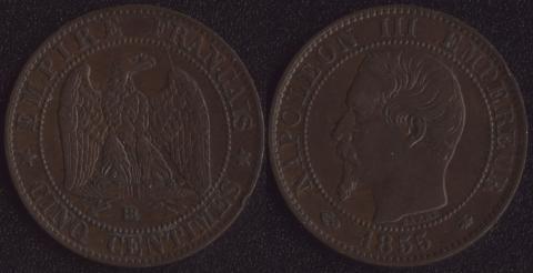 Франция 5 сантим 1855
