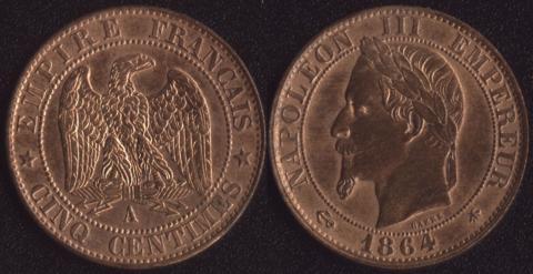 Франция 5 сантим 1864