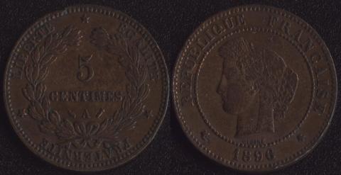 Франция 5 сантим 1896