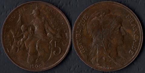 Франция 5 сантим 1906