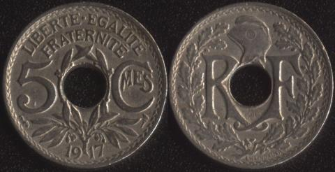 Франция 5 сантим 1917
