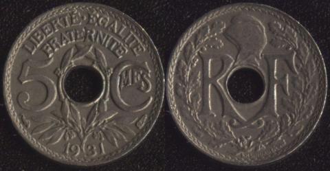 Франция 5 сантим 1931