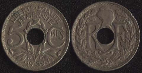 Франция 5 сантим 1939