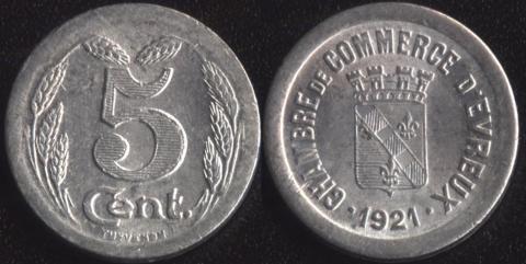 Эврё 5 сантим 1921