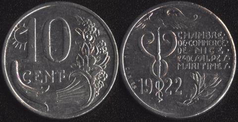 Ницца 10 сантим 1922