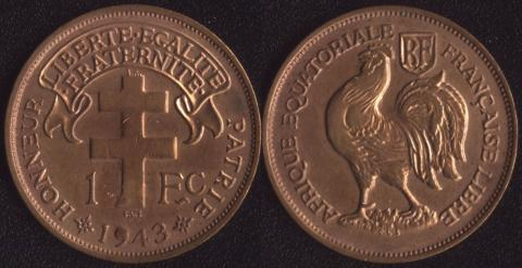 Французская Экваториальная Африка 1 франк 1943
