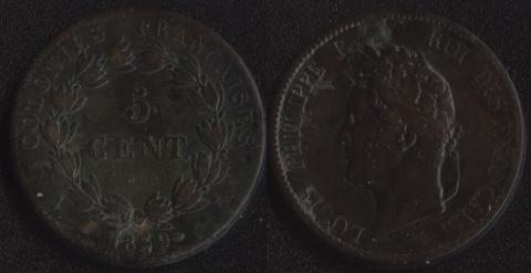 Французские колонии 5 сантим 1839
