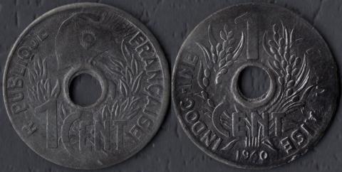 Французский Индокитай 1 цент 1940 (круги)