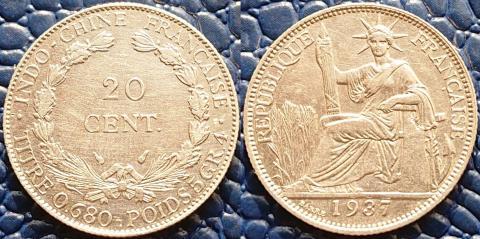 Французский Индокитай 20 центов 1937