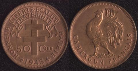 Французский Камерун 50 сантим 1943