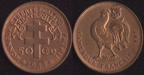 Французский Камерун 50 сантим 1943 LIBRE
