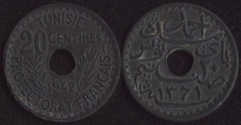 Французский Тунис 20 сантим 1942