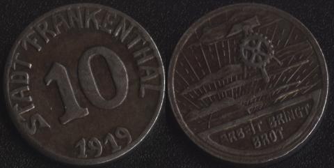Франкенталь 10 пфеннигов 1919