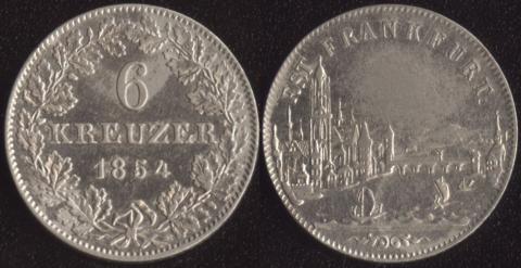 Франкфурт 6 крейцеров 1854