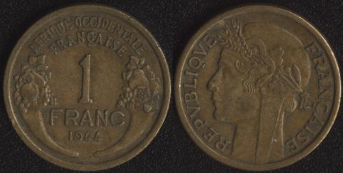 Французская Западная Африка 1 франк 1944