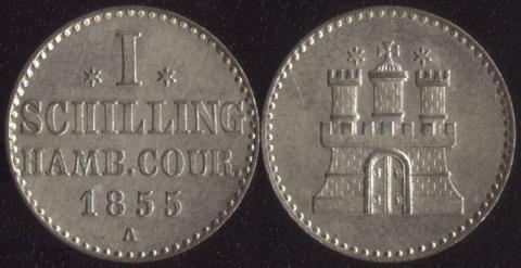 Гамбург шиллинг 1855
