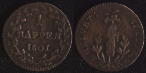 Гельветическая Республика 1 раппен 1801