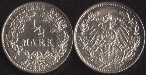 Германия 1/2 марки 1918
