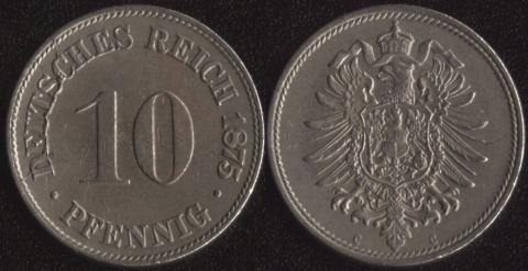 Германия 10 пфеннигов 1875