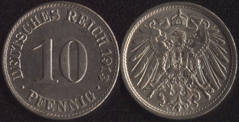 Германия 10 пфеннигов 1913
