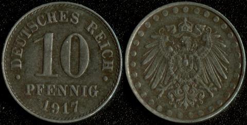 Германия 10 пфеннигов 1917