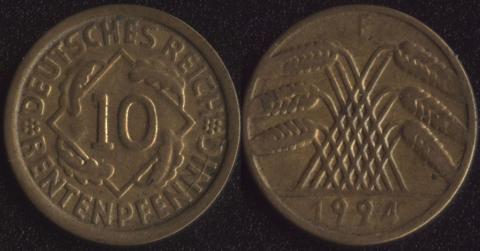 Германия 10 рентных пфеннигов 1924
