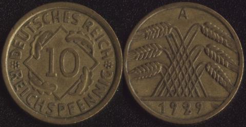 Германия 10 рейхспфеннигов 1929