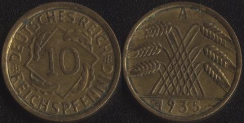 Германия 10 пфеннигов 1935