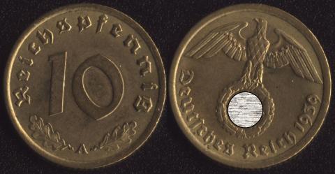 Германия 10 пфеннигов 1939