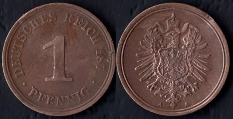 Германия 1 пфенниг 1874