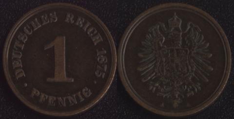 Германия 1 пфенниг 1875