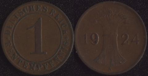 Германия 1 рентный пфенниг 1924