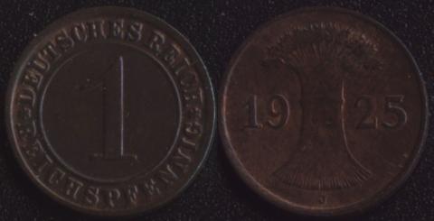 Германия 1 рейхспфенниг 1925