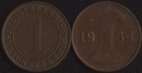 Германия 1 пфенниг 1934