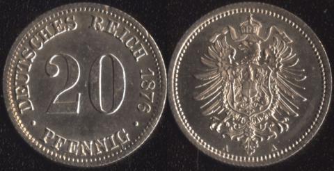 Германия 20 пфеннигов 1876