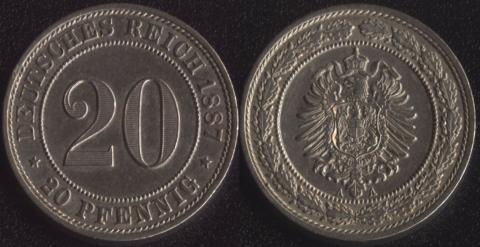 Германия 20 пфеннигов 1887