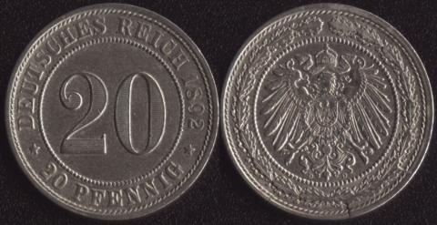 Германия 20 пфеннигов 1892