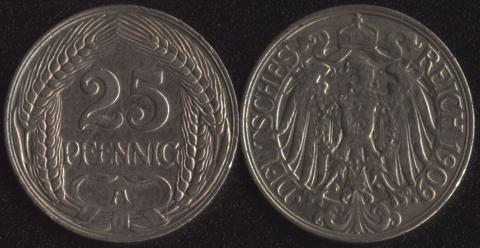 Германия 25 пфеннигов 1909