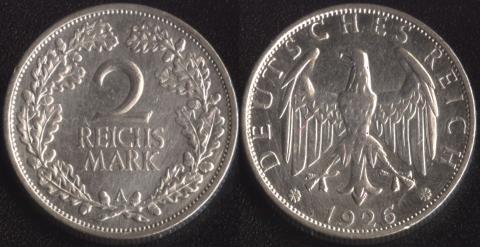 Германия 2 рейхсмарки 1926