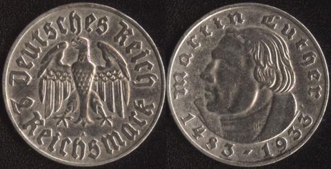 Германия 2 марки 1933 Мартин Лютер