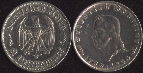 Германия 2 марки 1934 Шиллер