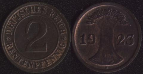 Германия 2 рентных пфеннига 1923