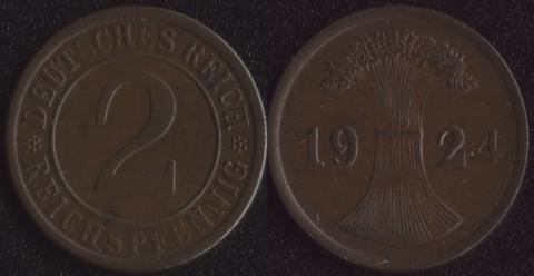 Германия 2 рейхспфеннига 1924