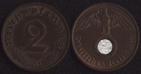 Германия 2 пфеннига 1937