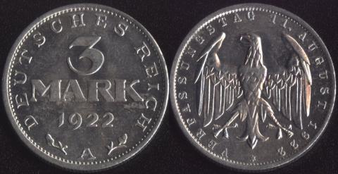 """Германия 3 марки 1922 """"Третьягодовщинаподписания Конституции Веймарской Республики"""""""