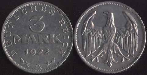 Германия 3 марки 1922