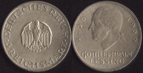 """Германия 3 марки 1929 """"Готхольд Эфраим Лессинг"""""""